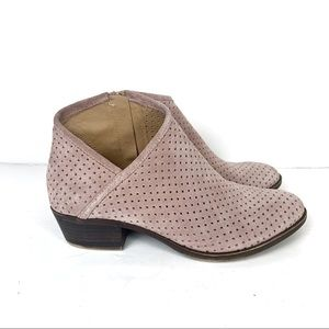 Lucky Brand Breeza Perforated Pink Ankle Booties